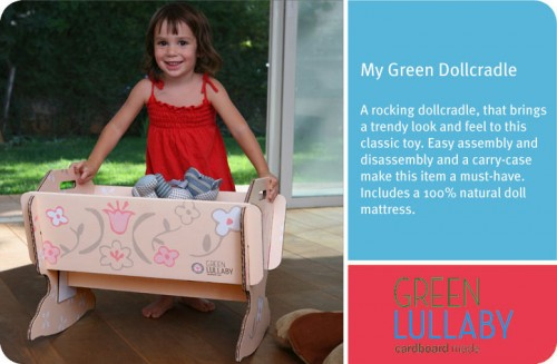 green lullaby doll cradle