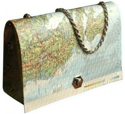 infobag recycled paper handbag sustainable art