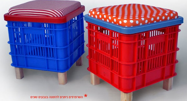 Lool82 benches turn milk crates into handy storage benches