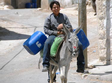 Arab boy collecting water in the West Bank